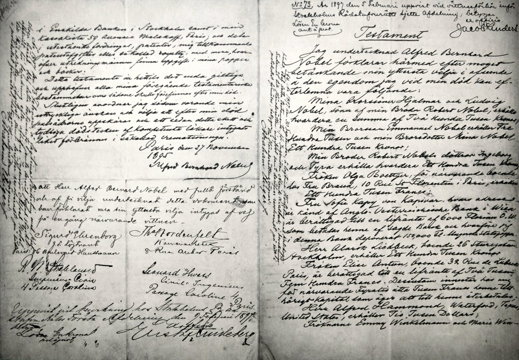 Nobel testamento volontà documento cult stories