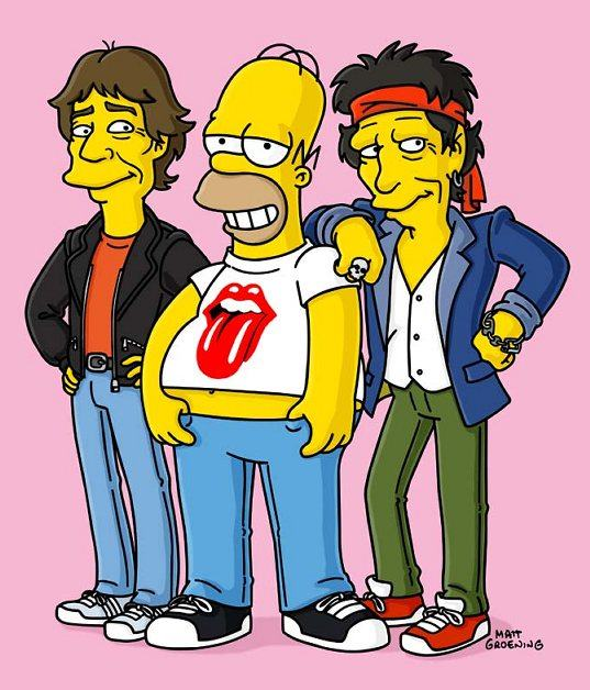 Homer Simpsons and The Rolling Stones-mick-jagger-keith-richards-cult-stories cult music rock