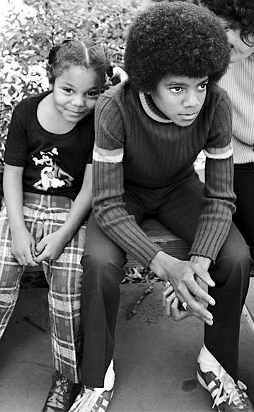 Cult Stories young Janet & Michael Jackson pop music star idol photo